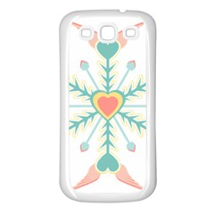 Snowflakes Heart Love Valentine Angle Pink Blue Sexy Samsung Galaxy S3 Back Case (white)