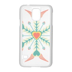Snowflakes Heart Love Valentine Angle Pink Blue Sexy Samsung Galaxy S5 Case (white)