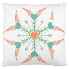 Snowflakes Heart Love Valentine Angle Pink Blue Sexy Large Flano Cushion Case (one Side)