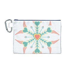 Snowflakes Heart Love Valentine Angle Pink Blue Sexy Canvas Cosmetic Bag (m)