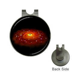 Space Galaxy Black Sun Hat Clips With Golf Markers