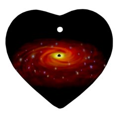 Space Galaxy Black Sun Heart Ornament (two Sides)