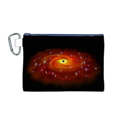 Space Galaxy Black Sun Canvas Cosmetic Bag (m)