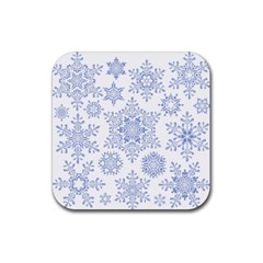 Snowflakes Blue White Cool Rubber Square Coaster (4 Pack)