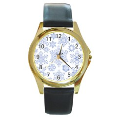 Snowflakes Blue White Cool Round Gold Metal Watch