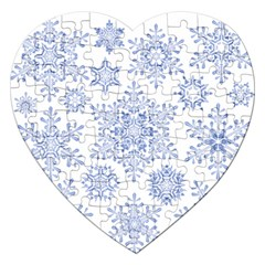 Snowflakes Blue White Cool Jigsaw Puzzle (heart)