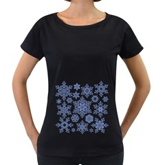 Snowflakes Blue White Cool Women s Loose Fit T Shirt (black)