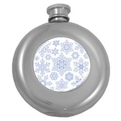 Snowflakes Blue White Cool Round Hip Flask (5 Oz)