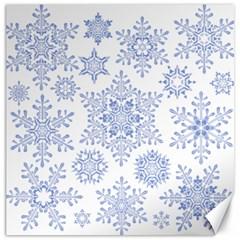 Snowflakes Blue White Cool Canvas 16  X 16