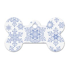 Snowflakes Blue White Cool Dog Tag Bone (one Side)