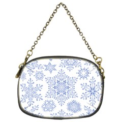 Snowflakes Blue White Cool Chain Purses (two Sides)