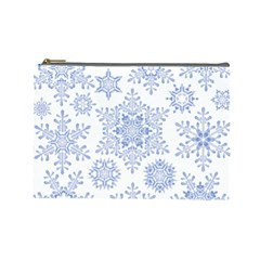 Snowflakes Blue White Cool Cosmetic Bag (large)
