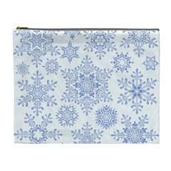 Snowflakes Blue White Cool Cosmetic Bag (xl)