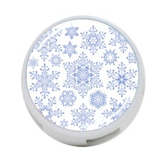 Snowflakes Blue White Cool 4 Port Usb Hub (two Sides)