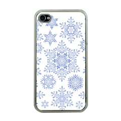 Snowflakes Blue White Cool Apple Iphone 4 Case (clear)