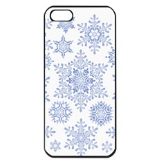 Snowflakes Blue White Cool Apple Iphone 5 Seamless Case (black)