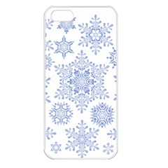 Snowflakes Blue White Cool Apple Iphone 5 Seamless Case (white)