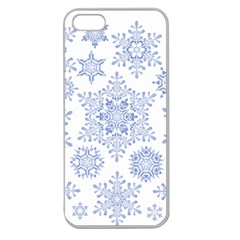 Snowflakes Blue White Cool Apple Seamless Iphone 5 Case (clear)