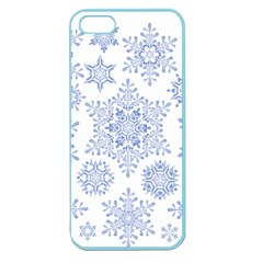 Snowflakes Blue White Cool Apple Seamless Iphone 5 Case (color)