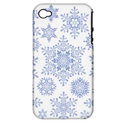 Snowflakes Blue White Cool Apple Iphone 4/4s Hardshell Case (pc+silicone)