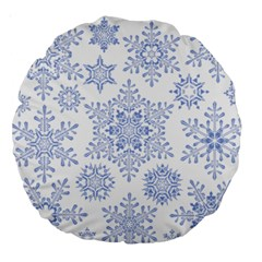 Snowflakes Blue White Cool Large 18  Premium Round Cushions