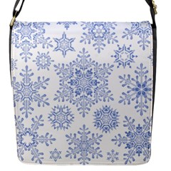 Snowflakes Blue White Cool Flap Messenger Bag (s)