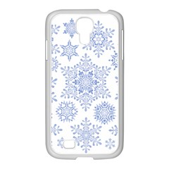 Snowflakes Blue White Cool Samsung Galaxy S4 I9500/ I9505 Case (white)