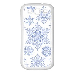 Snowflakes Blue White Cool Samsung Galaxy S3 Back Case (white)