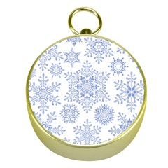 Snowflakes Blue White Cool Gold Compasses