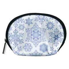 Snowflakes Blue White Cool Accessory Pouches (medium)