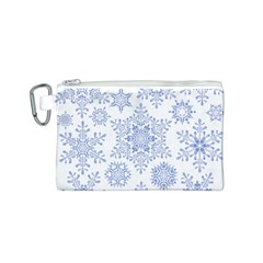 Snowflakes Blue White Cool Canvas Cosmetic Bag (s)