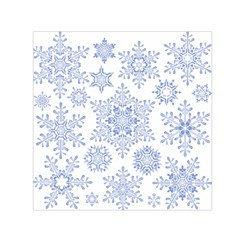 Snowflakes Blue White Cool Small Satin Scarf (square)