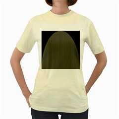 Space Line Grey Black Women s Yellow T Shirt