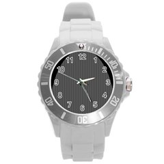 Space Line Grey Black Round Plastic Sport Watch (l)