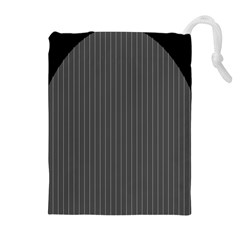 Space Line Grey Black Drawstring Pouches (extra Large)