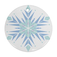 Snowflakes Star Blue Triangle Ornament (round)