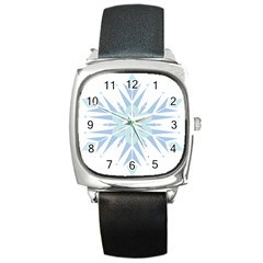 Snowflakes Star Blue Triangle Square Metal Watch