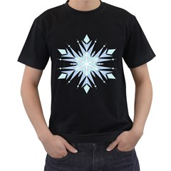 Snowflakes Star Blue Triangle Men s T Shirt (black) (two Sided)