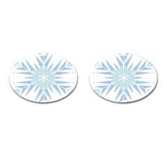 Snowflakes Star Blue Triangle Cufflinks (oval)