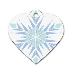 Snowflakes Star Blue Triangle Dog Tag Heart (two Sides)