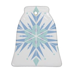 Snowflakes Star Blue Triangle Bell Ornament (two Sides)