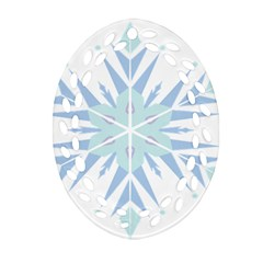 Snowflakes Star Blue Triangle Oval Filigree Ornament (two Sides)