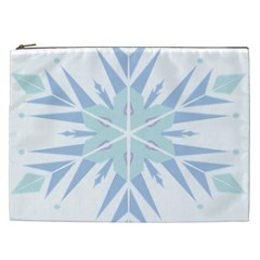Snowflakes Star Blue Triangle Cosmetic Bag (xxl)