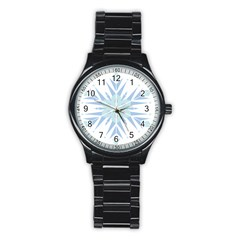Snowflakes Star Blue Triangle Stainless Steel Round Watch