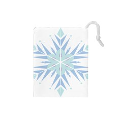 Snowflakes Star Blue Triangle Drawstring Pouches (small)