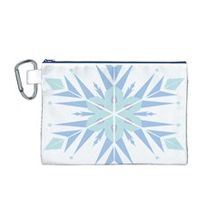 Snowflakes Star Blue Triangle Canvas Cosmetic Bag (m)