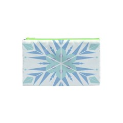 Snowflakes Star Blue Triangle Cosmetic Bag (xs)