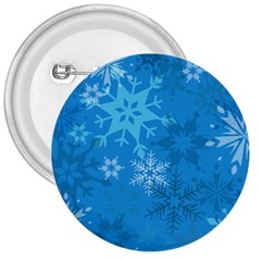Snowflakes Cool Blue Star 3  Buttons