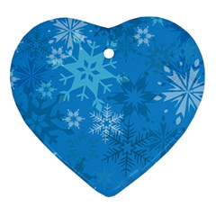 Snowflakes Cool Blue Star Ornament (heart)