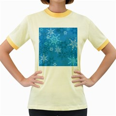Snowflakes Cool Blue Star Women s Fitted Ringer T Shirts